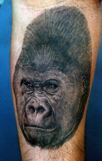 Black Ink Gorilla Head Tattoo Design For Half Sleeve