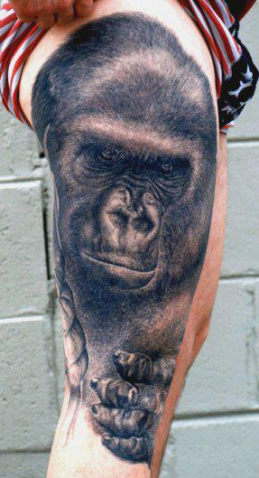 Black Ink Gorilla Tattoo On Right Side Thigh