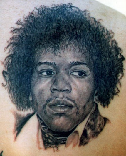 black ink jimi hendrix tattoo on forearm. Black Bedroom Furniture Sets. Home Design Ideas