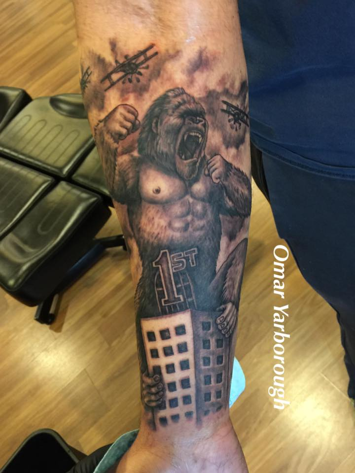 colorful first national bank building tattoo on right leg. Black Bedroom Furniture Sets. Home Design Ideas