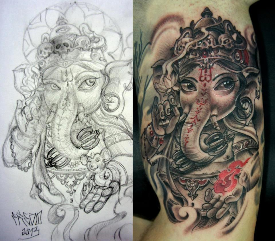 28ad8a74c0f11 Black Ink Lord Ganesha Tattoo Design For Half Sleeve
