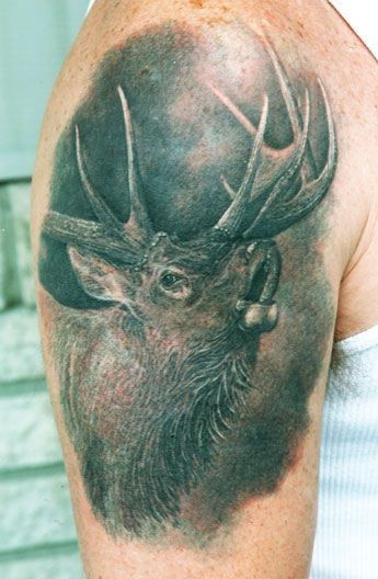 Black Ink Moose Tattoo On Right Half Sleeve