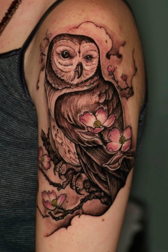 736e17f14 Black Ink Owl Tattoo On Left Half Sleeve