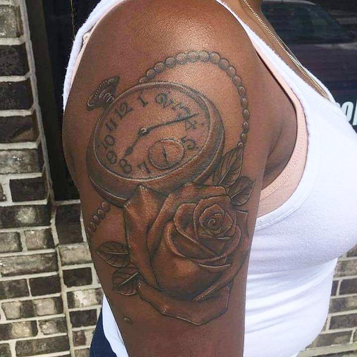 Black ink skulls with pocket watch and rose tattoo on for Black people tattoo sleeves