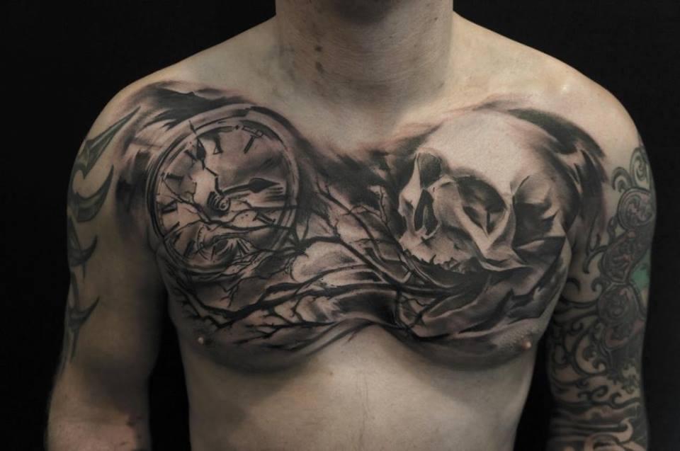 2953d3d34 Black Ink Skull With Clock Tattoo On Man Chest