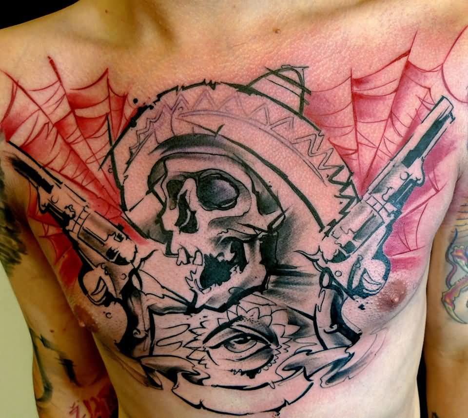 Black Ink Skull With Guns Tattoo On Man Chest