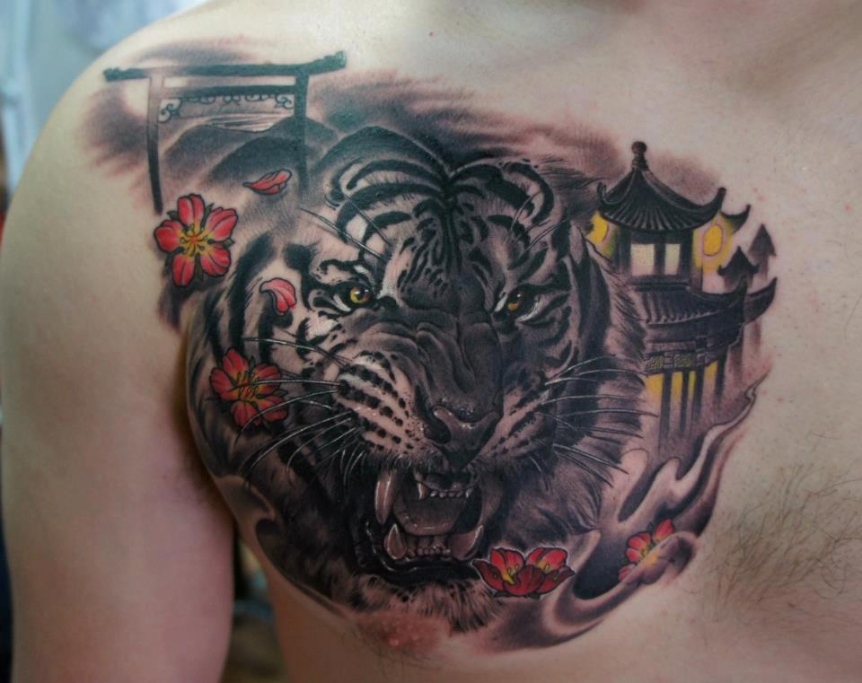 ae4d2779e Black Ink Tiger Head Tattoo On Right Front Shoulder
