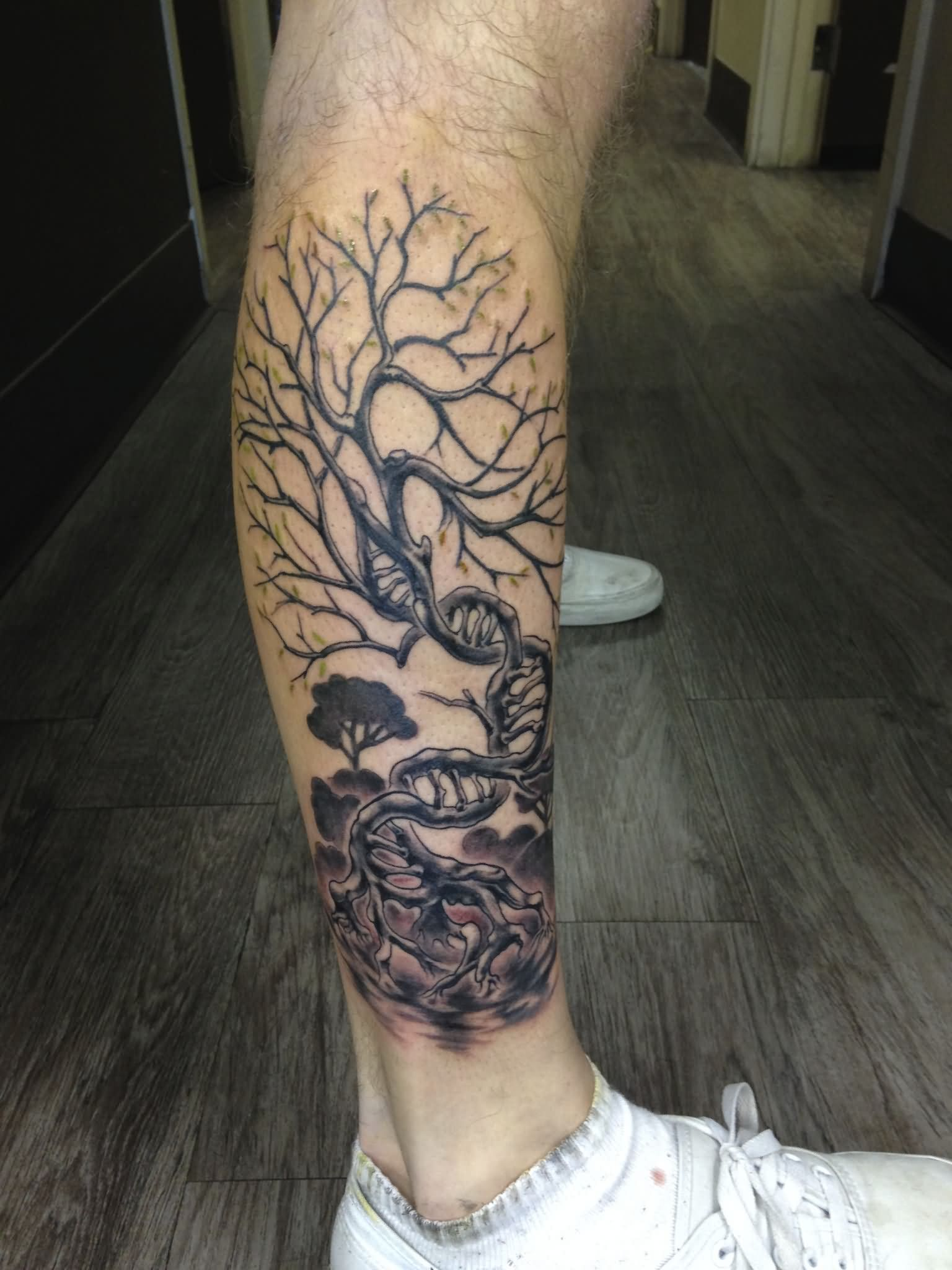 Black Ink Tree Without Leaves Tattoo On Right Leg