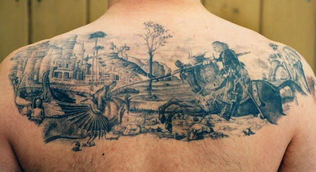 Black Ink Warrior On Horse With Dragon Tattoo On Man Upper Back