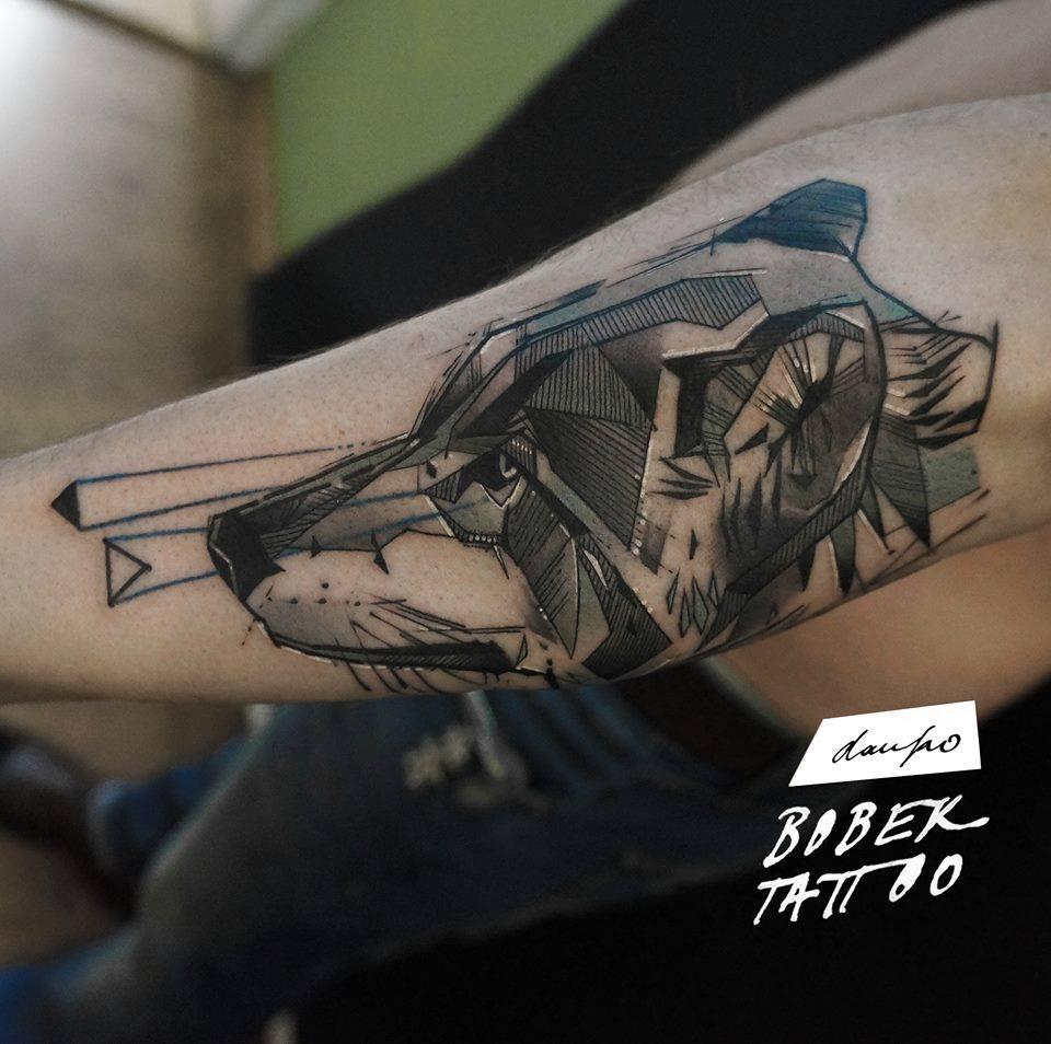 Black Ink Wolf Head Tattoo On Sleeve