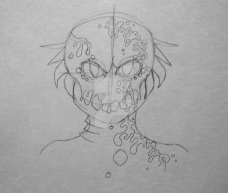 Black Outline Alien Head Tattoo Design