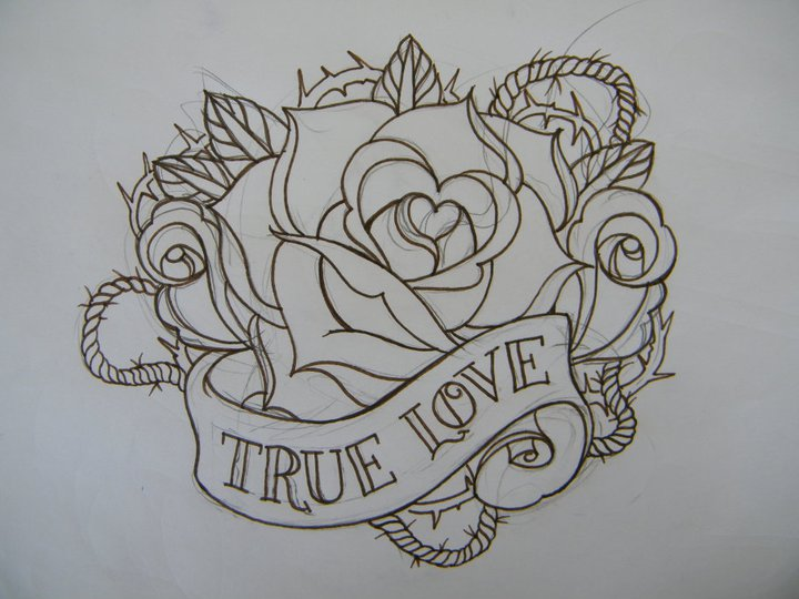 Black Outline Rose With True Love Banner Tattoo Design