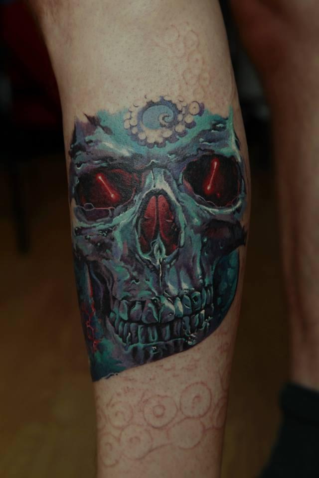 Blue Ink Skull Tattoo On Forearm By Dmitriy Samohin