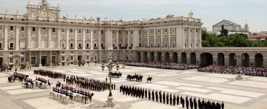 Changing The Guard At The Royal Palace Of Madrid Aerial View