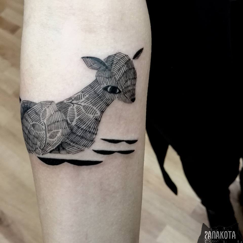 Classic Black Ink Deer Fawn Tattoo On Right Forearm