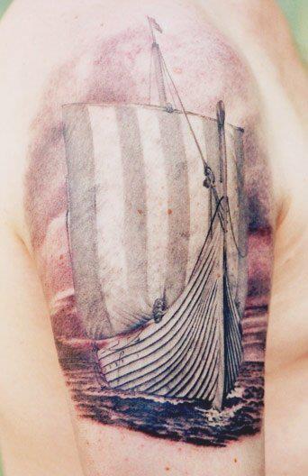 Classic Grey Ink Ship Tattoo On Half Sleeve