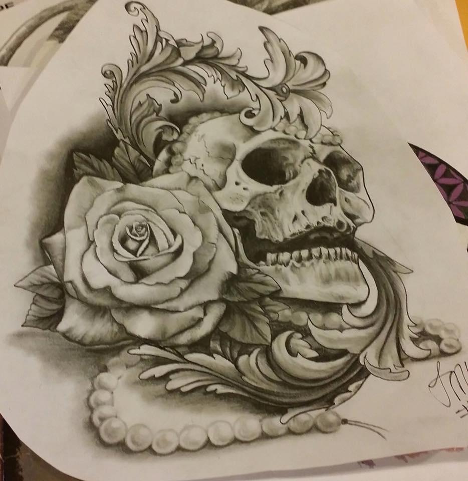 skull with design