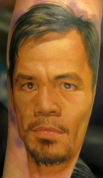 Classic Manny Pacquiao Portrait Tattoo On Forearm By Dmitriy Samohin