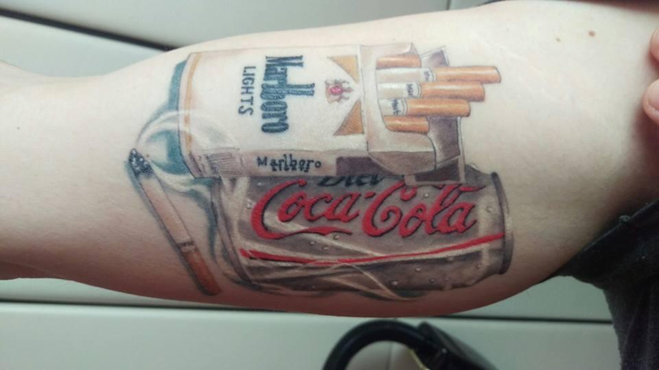 coca cola cane cigarette box tattoo on right bicep. Black Bedroom Furniture Sets. Home Design Ideas