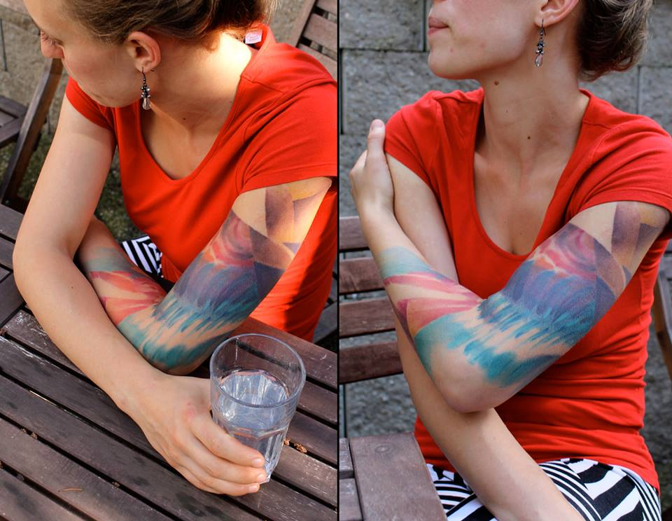 Colorful Abstract Tattoo On Women Left Full Sleeve