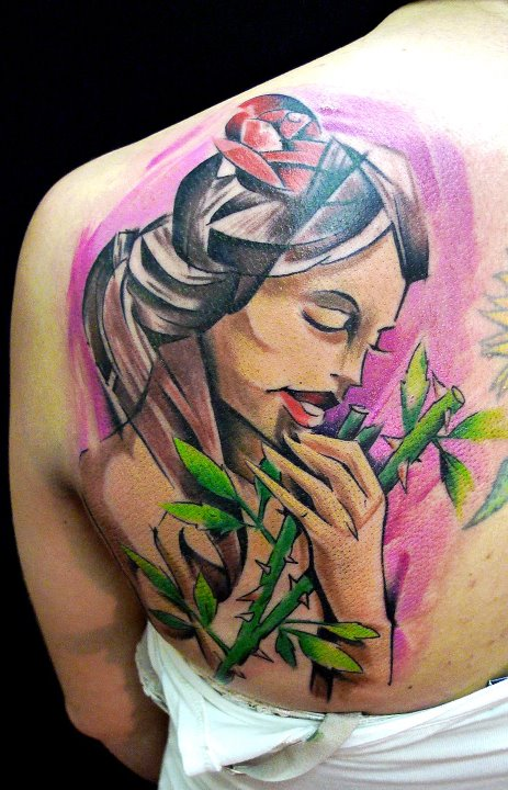Colorful Abstract Women Face Tattoo On Left Back Shoulder