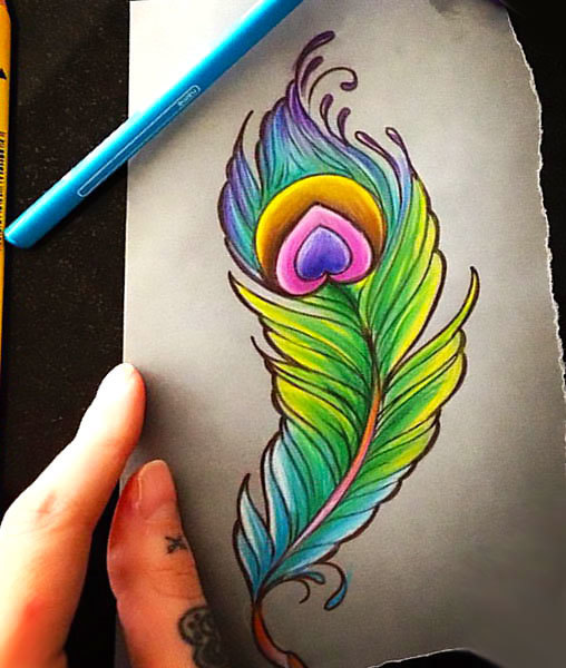 25 colorful peacock feather tattoos. Black Bedroom Furniture Sets. Home Design Ideas