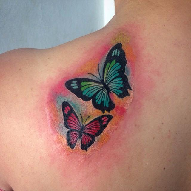 3d Monarch Butterfly Tattoo On Back Shoulder