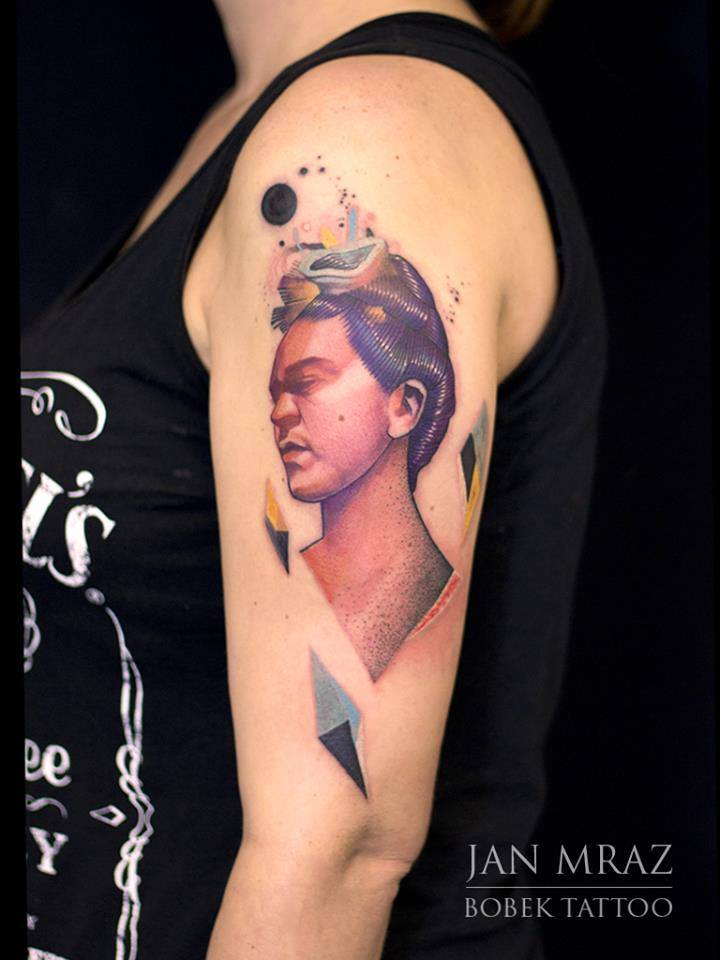 Cool 3D Women Head Tattoo On Left Half Sleeve By Jan Mraz