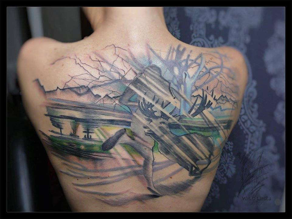 Cool Abstract Deer Tattoo On Upper Back