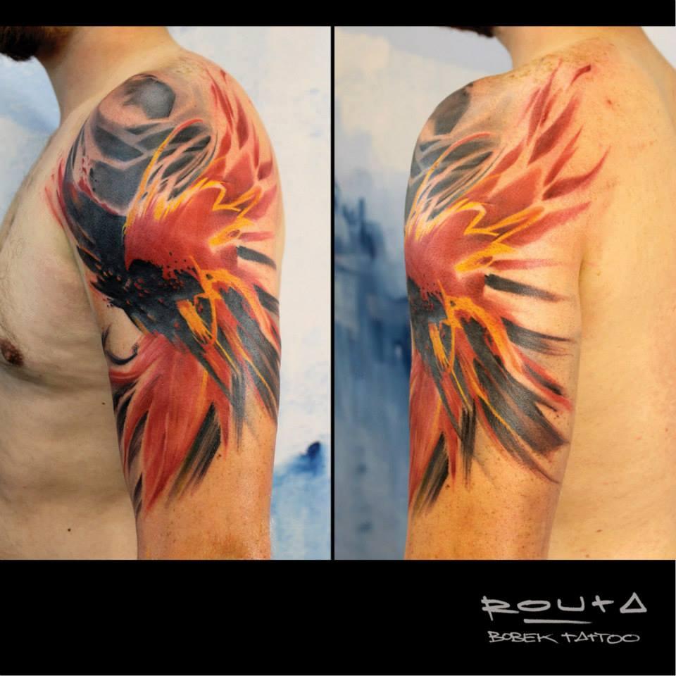 Cool Abstract Flying Bird Tattoo On Man Left Half Sleeve