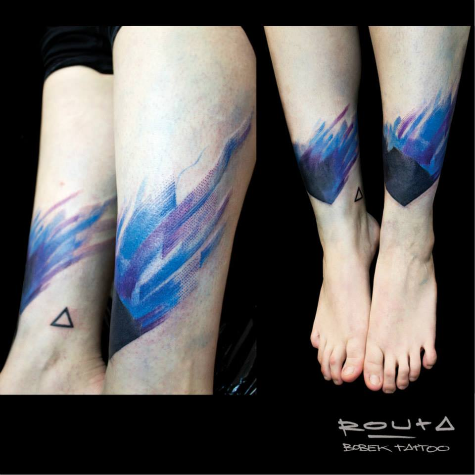 Cool Abstract Tattoo On Both Leg
