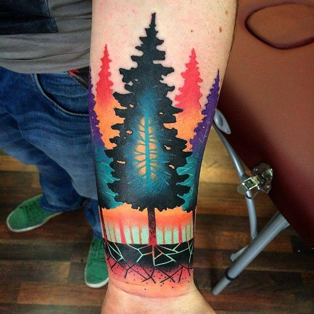 cool abstract trees tattoo on forearm rh askideas com Abstract Line Tattoos Abstract Swirl Tattoo