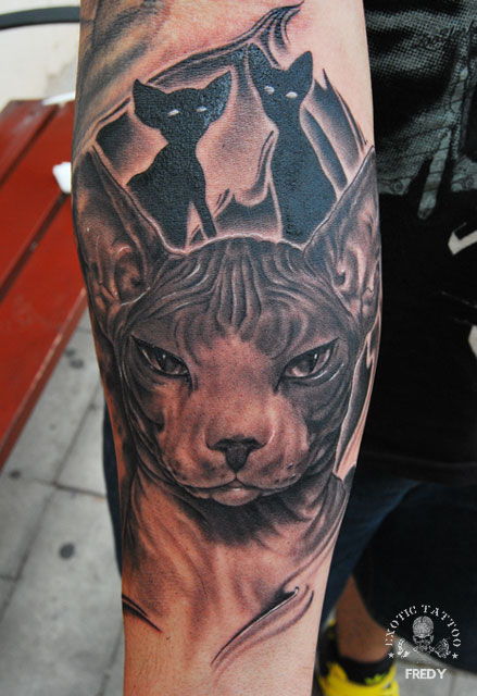 Forearm tattoos for Cool cat tattoo
