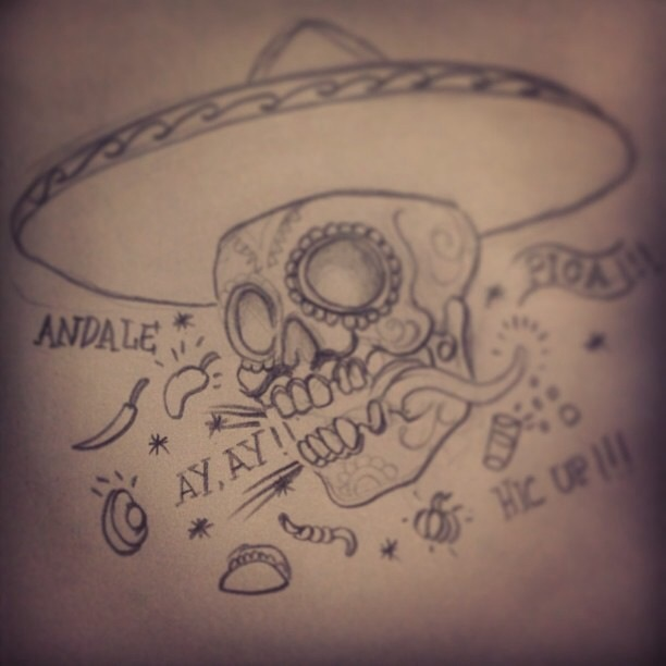 Cool Cowboy Hat On Sugar Skull Tattoo Design