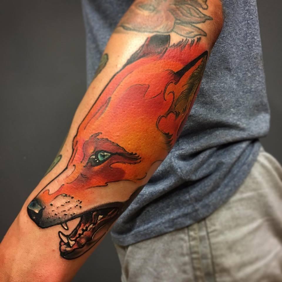 Cool Fox Head Tattoo On Left Arm