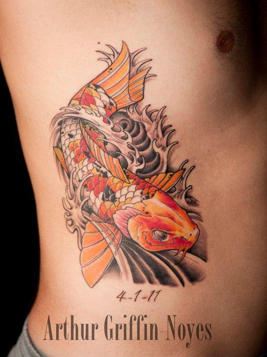 Cool Koi Fish Tattoo On Man Right Side Rib