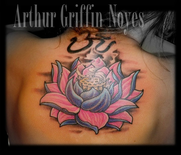Cool Lotus Flower Tattoo On Upper Back