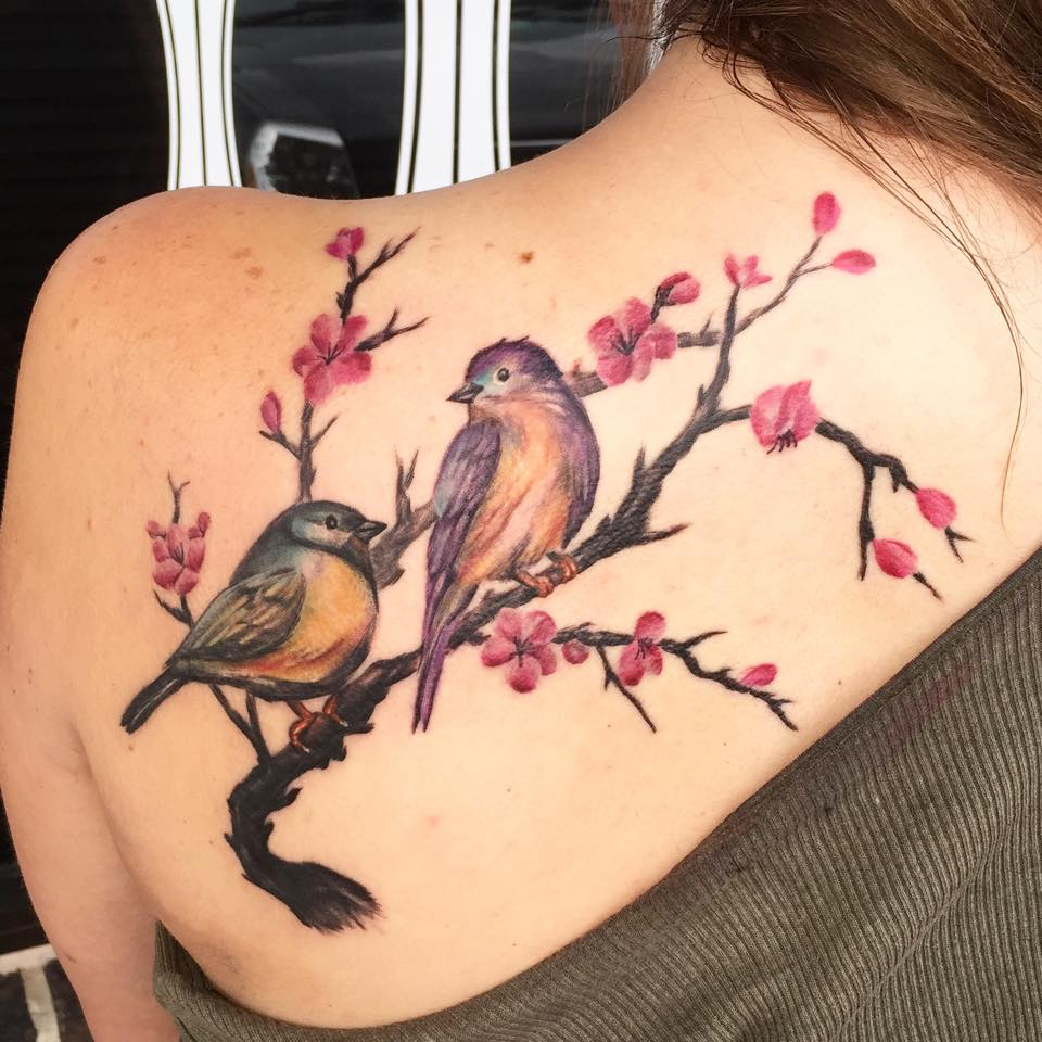 e1c088256e209 Cute Birds On Branch Tattoo On Left Back Shoulder