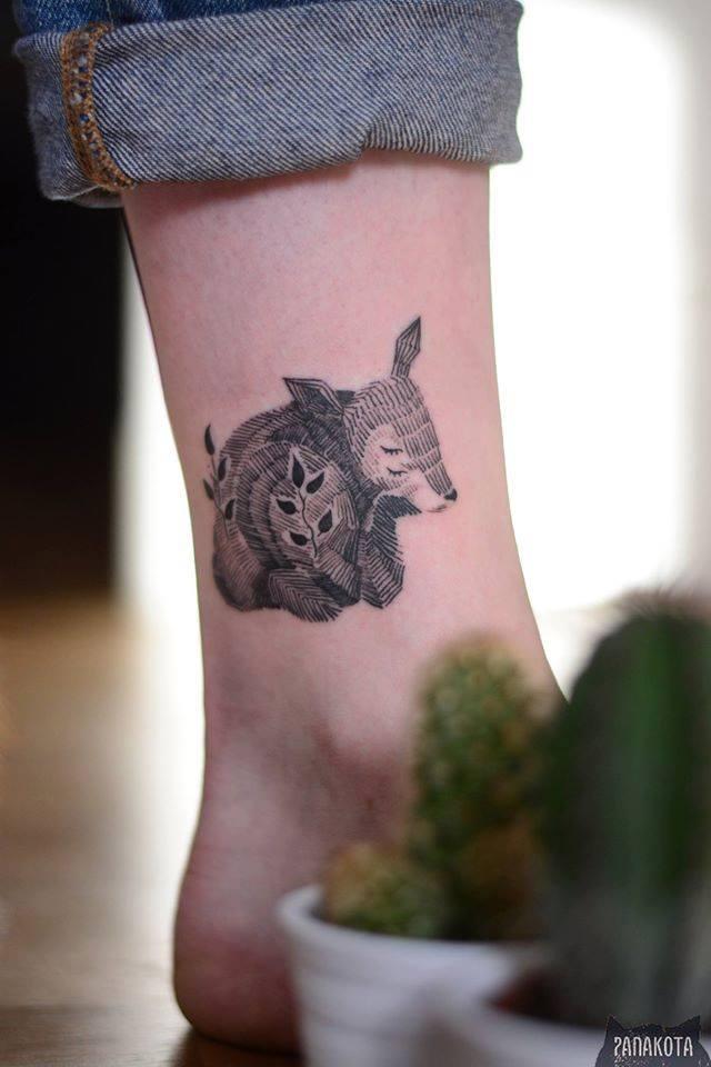 Cute Black Ink Deer Fawn Tattoo On Leg