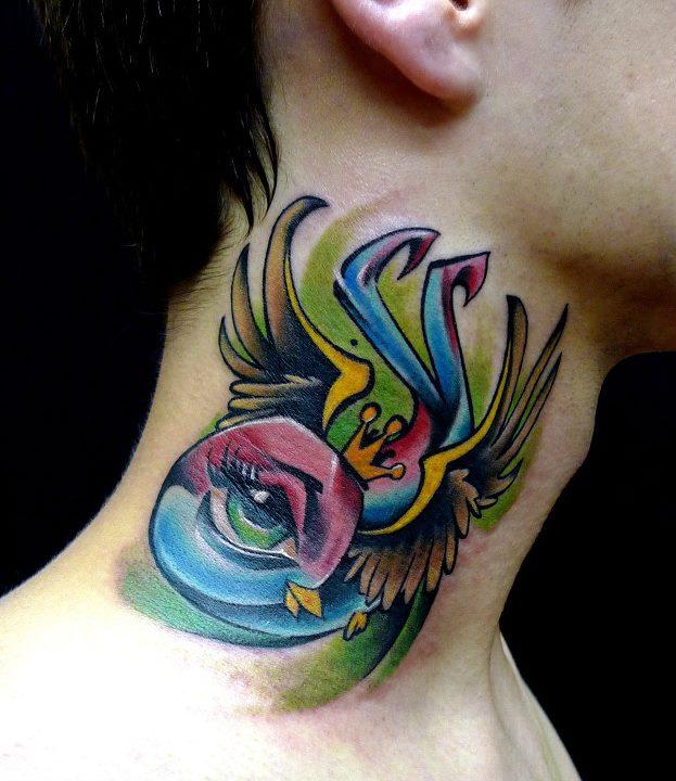 Cute Traditional Flying Bird Tattoo On Man Side Neck