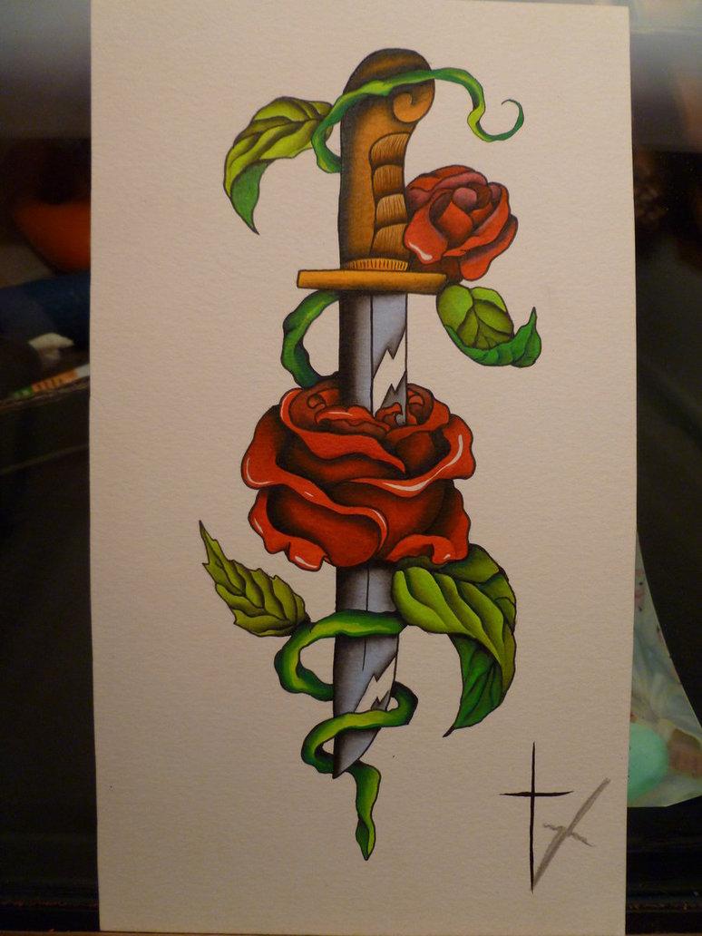 Rose Tattoo Sleeve Outline 8 Dagger Tattoo Design...