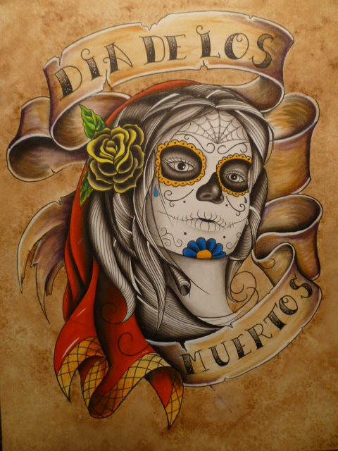 Dia De Los Muertos Girl Face With Rose Tattoo Design