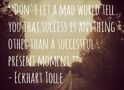 Don't let a mad world tell you that success is anything other than a successful present moment. Eckhart Tolle