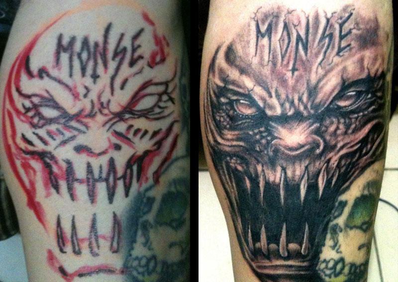 Evil tattoos for Evil faces tattoos