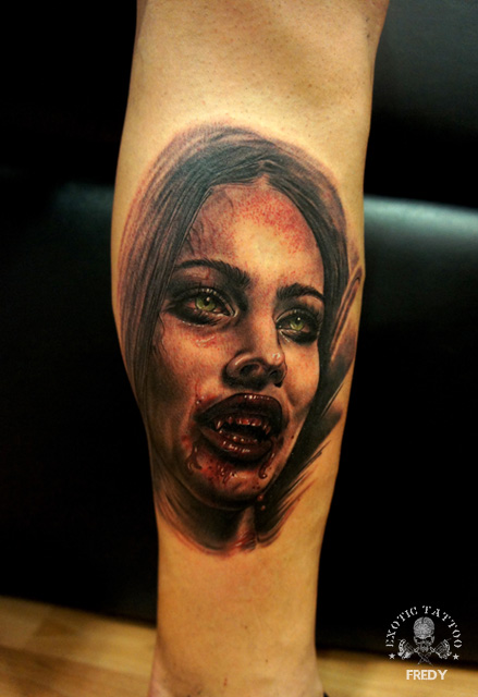 Black And Grey Girl Face Tattoo On Right Forearm