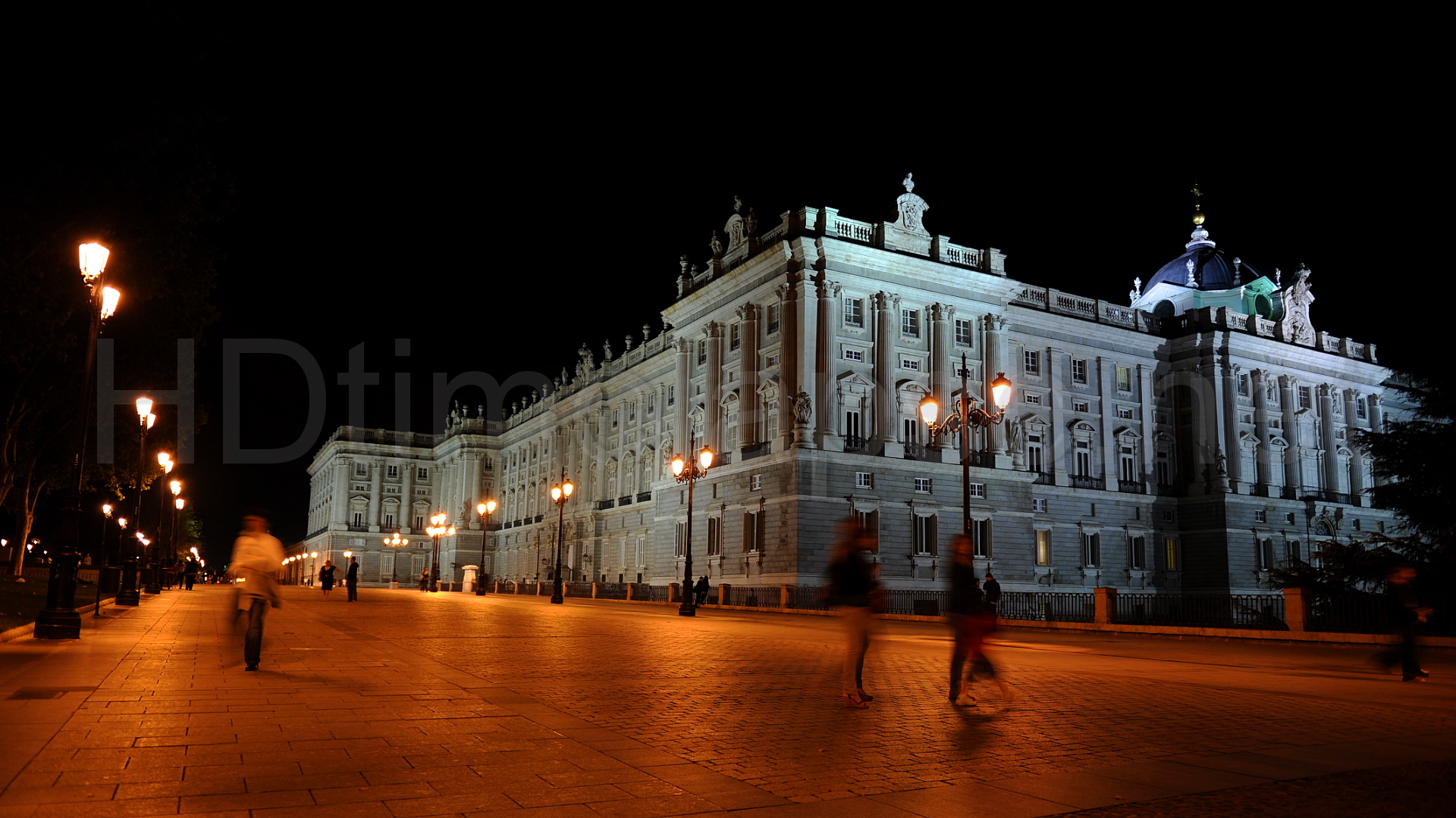 Exterior View Of The Royal Palace Of Madrid Lit Up At Nighty