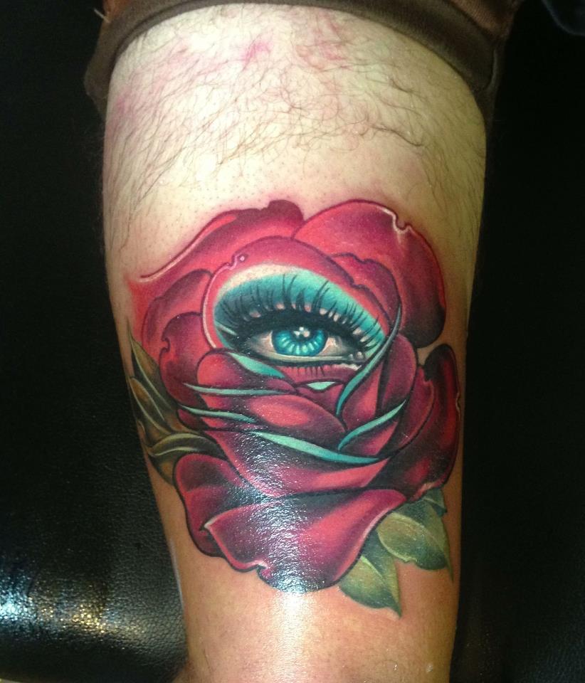 2 unique orange rose tattoo on thigh for Unique rose tattoos