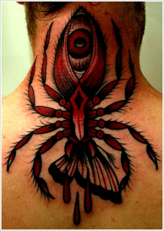 51dbede85f049 Eye In Spider Tattoo On Girl Back