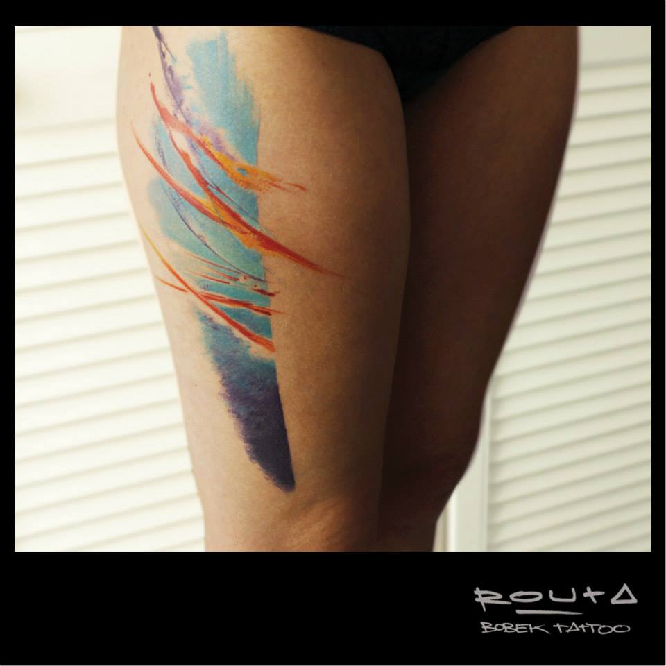 Fantastic Colorful Tattoo On Right Side Thigh By Martin Routa