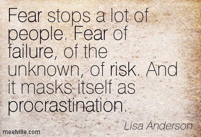 Fear stops a lot of people. Fear of failure, of the unknown, of risk. And it masks itself as procrastination. Lisa Anderson